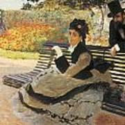 Madame Monet On A Garden Bench Poster