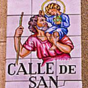 Madrid Street Sign Poster by David Pringle