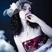Makeup Beauty With Gothic Hair And Bloody Mouth Poster