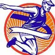 Male Marathon Runner Running Retro Woodcut Poster