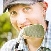 Man With Golf Club Poster