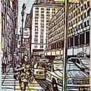 Manhattan On Map Poster