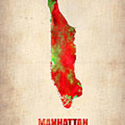 Manhattan Watercolor Map Poster by Naxart Studio