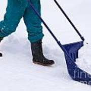 Manual Snow Removal With Snow Scoop After Blizzard Poster