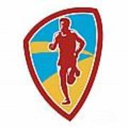Marathon Runner Shield Retro Poster by Aloysius Patrimonio