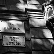 Marble Street Name Plate For La Rambla Rambla Dels Estudis Barcelona Catalonia Spain Poster