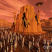 Martians Gathering Around A Monument Poster
