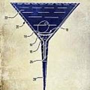 Martini Glass Patent Drawing Two Tone  Poster