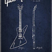 Mccarty Gibson Electrical Guitar Patent Drawing From 1958 - Navy Blue Poster