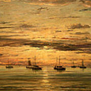Mesdag's Sunset At Scheveningen -- A Fleet Of Shipping Vessels At Anchor Poster