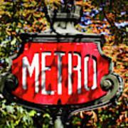 Metro Sign, Paris, France Poster
