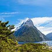 Milford Sound And Mitre Peak In Fjordland Np Nz Poster