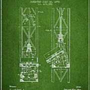 Mine Elevator Patent From 1892 - Green Poster