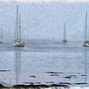 Misty Sails Upon The Water Poster
