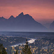 Misty Teton Sunset Poster