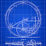 Monocycle Patent 1894 - Blue Poster