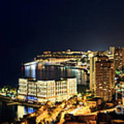 Monte Carlo Cityscape At Night Poster