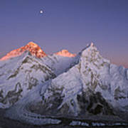 Moon Over Mount Everest Summit Poster