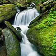 Mossy Rocks On Cascade Poster