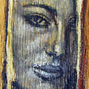 Mysterious Girl Face Portrait - Painting On The Wood Poster