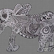 Nelly The Elephant Grey Poster