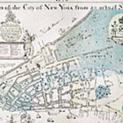 New York City Map, 1728 Poster