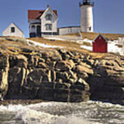 Nubble Lighthouse 3 Poster by Joann Vitali