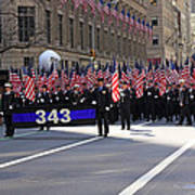 Nyc Fire Department Honoring The 343 Lost Comrades Of 911 With 343 American Flags Poster