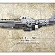 Old Crow P-51 Mustang - Map Background Poster