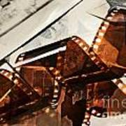 Old Film Strip And Photos Background Poster by Michal Bednarek