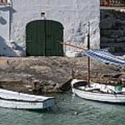Typical Mediterranean Fishermen Boat And House In Minorca Island - Old Fishermen Villa Poster