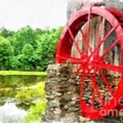 Old Grist Mill Vermont Red Water Wheel Poster