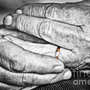 Old Hands With Wedding Band Poster