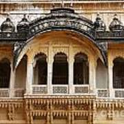 Ornate Balcony At Meherangarh Fort At Jodhpur In India Poster