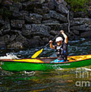 Paddler In A Whitewater Canoe Poster