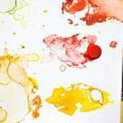 Paint Splatters And Paint Brush Poster