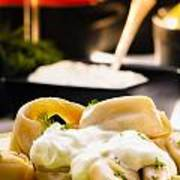 Pelmeni Dumplings With Fennel And Smetana Sour Cream Poster