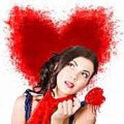 Photo Of Romantic Woman Holding Heart Shape Candy Poster