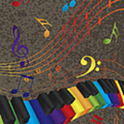 Piano Wavy Border With 3d Colorful Keys And Music Note Poster