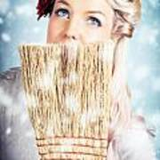 Pin-up Woman Cleaning Up In Cold Blue Winter Snow Poster