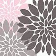 Pink Gray Peony Flowers Poster