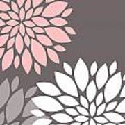 Pink Grey White Peony Flowers Poster