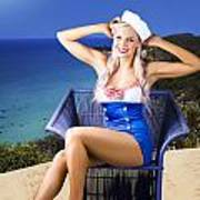 Pinup Woman On A Tropical Beach Travel Tour Poster