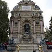 Place Saint-michel Statue And Fountain In Paris France Poster