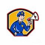 Policeman Shouting Bullhorn Shield Cartoon Poster