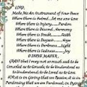 Pope Francis St. Francis Simple Prayer For Peace Poster