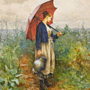 Portrait Of A Woman With Umbrella Gathering Water Poster