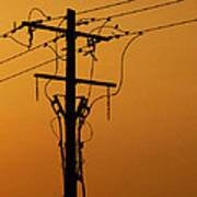 Power Line Sunset Poster
