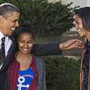 President Obama And Daughters Poster by JP Tripp