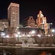 Providence Rhode Island Skyline At Night Poster